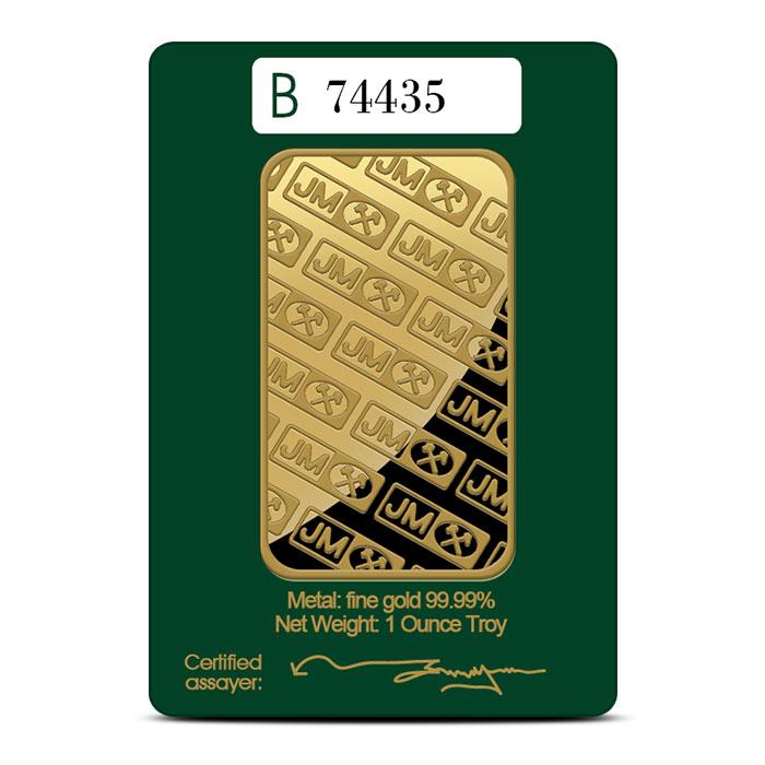 Johnson Matthey 1 oz .9999 Fine Gold Bar In Card Reverse
