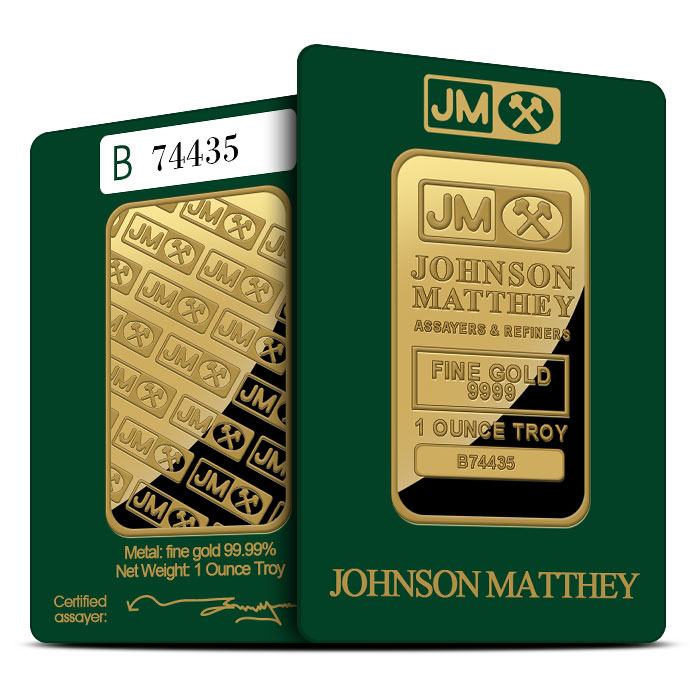 Johnson Matthey 1 oz .9999 Fine Gold Bars