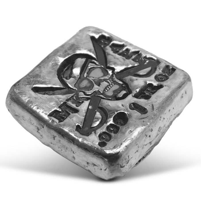 Jolly Roger Poured SIlver Pirate Square