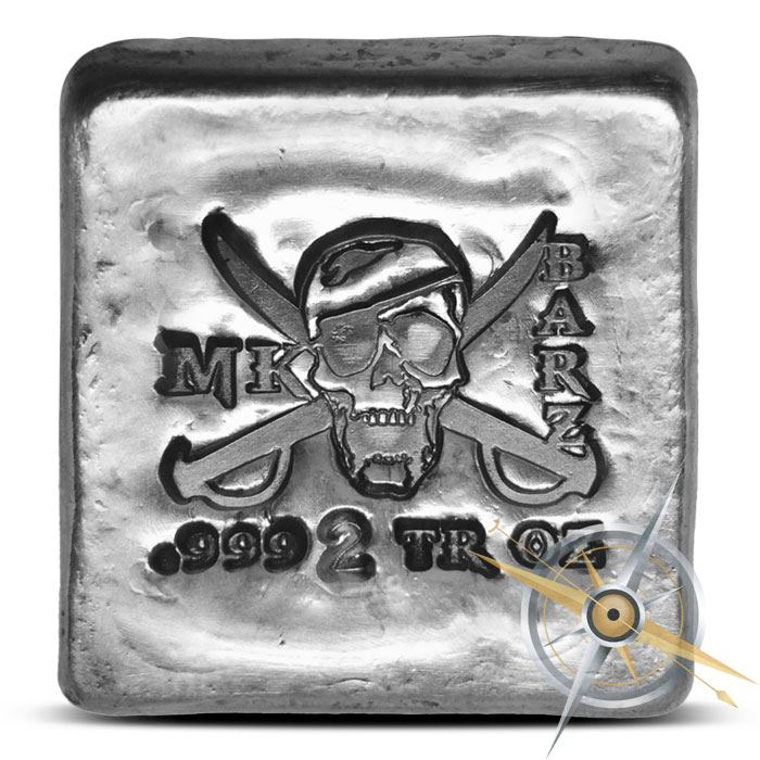 Jolly Roger Poured Silver Bar