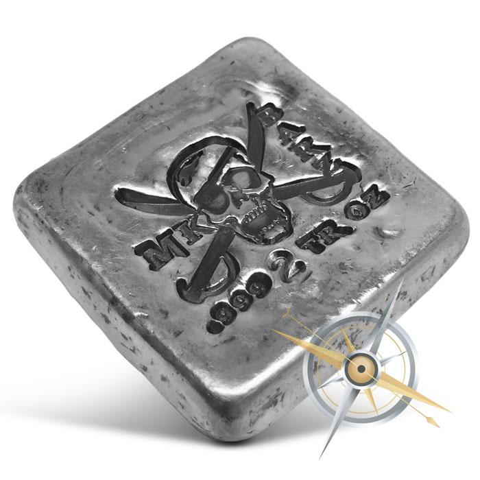 Jolly Roger 2 oz Poured Silver Bar