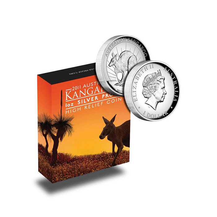 2011 1 oz Proof Silver Kangaroo High Relief Bulion Coins
