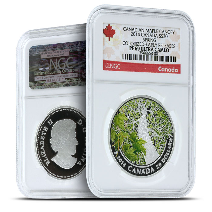 2014 1 oz $20 Silver Maple Canopy | Spring Splendour NGC PF69
