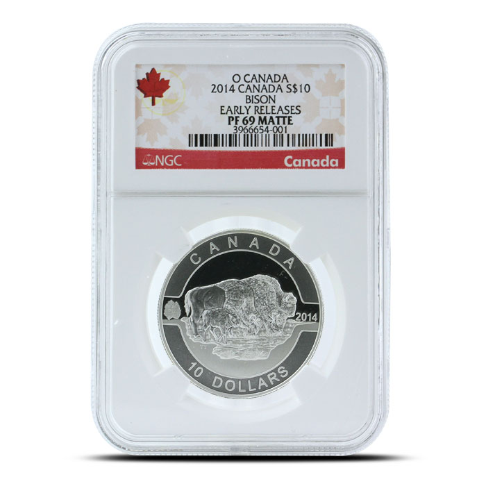 2014 1/2 oz $10 Silver Bison   O Canada Series NGC-PF69 Obverse