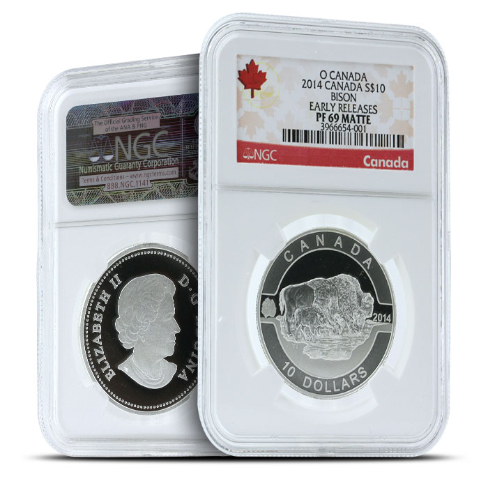 2014 1/2 oz $10 Silver Bison   O Canada Series NGC-PF69