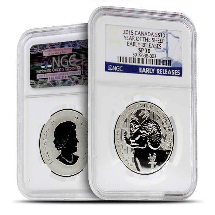2015 1/2 oz $10 Silver Year of the Sheep | NGC SP70