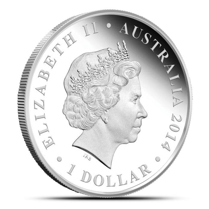 2014 1 oz Proof Silver Australian Megafauna | Megalania Reverse