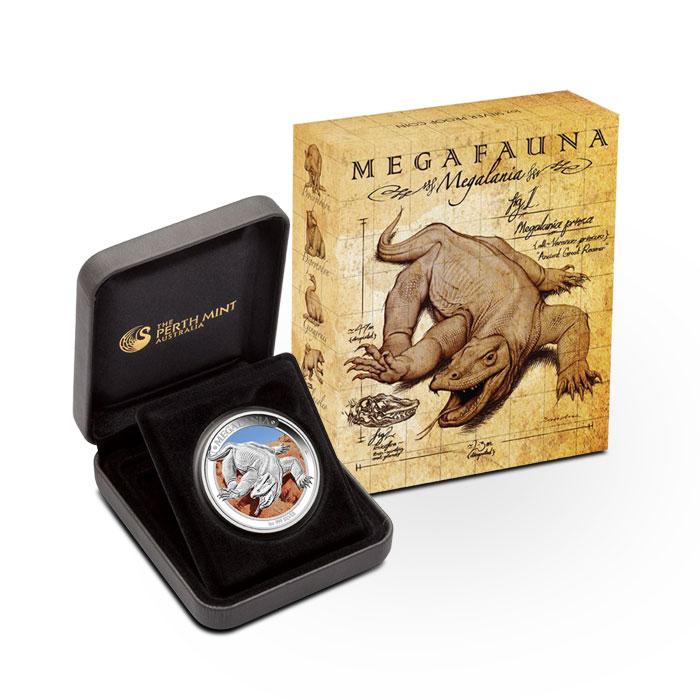2014 1 oz Proof Silver Australian Megafauna | Thylacoleo Box