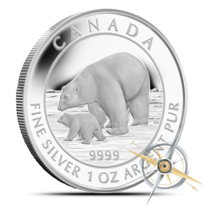 2015 1 oz Canadian Silver Polar Bear and Cub