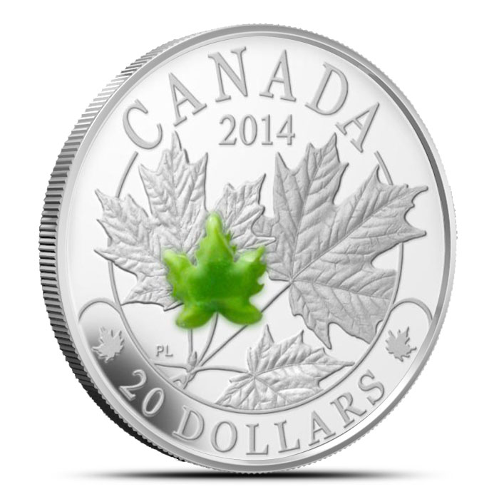 2014 1 oz $20 Silver Majestic Maple Leaves with Jade Obverse