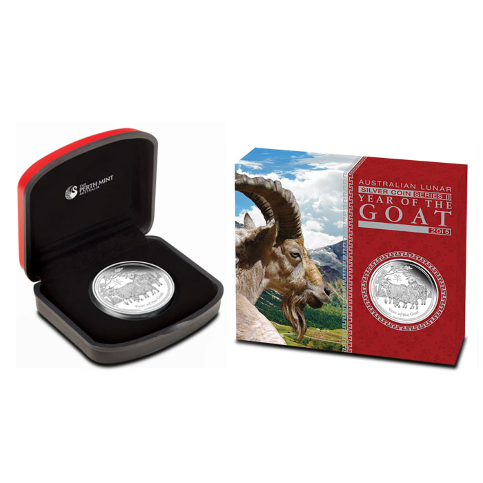 2015 1 oz Silver Proof Year of the Goat | Perth Mint Lunar Series 2 Box