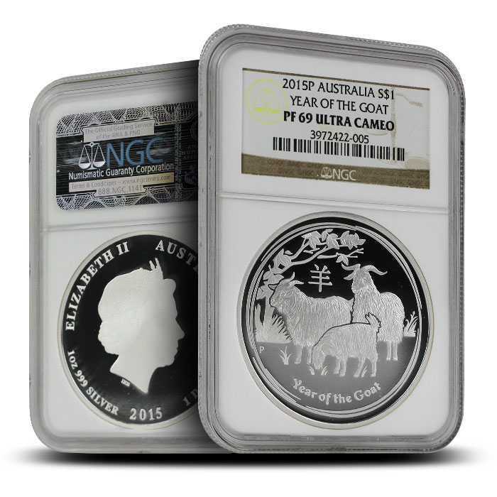 2015 1 oz Proof Silver Year of the Goat   Perth Mint Lunar Series II NGC PF69 dual