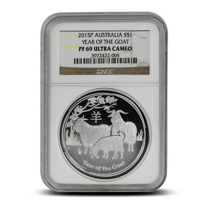 2015 1 oz Proof Silver Year of the Goat   Perth Mint Lunar Series II NGC PF69 obverse