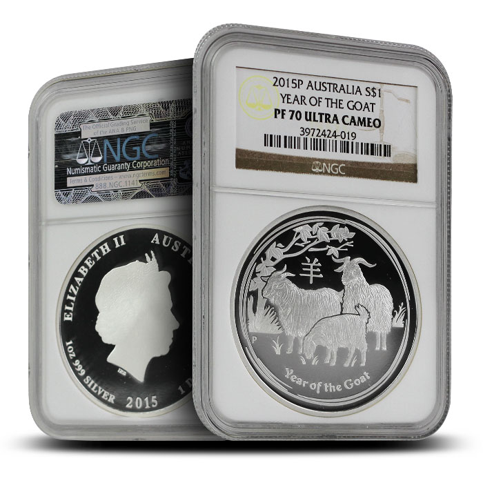 2015 1 oz Proof Silver Year of the Goat | Perth MInt Lunar Series II NGC PF70 dual