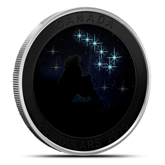 2015 $25 1 oz Silver Proof The Quest | Star Charts Series Glow in the Dark