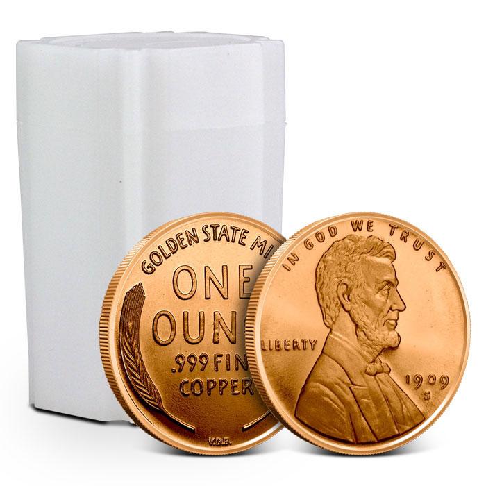 1 oz Copper Round | Lincoln Cent Tube