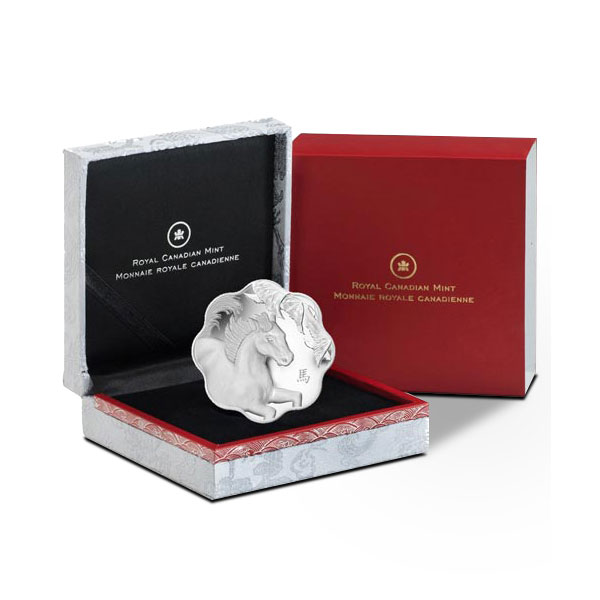 2014 Canadian Lotus Lunar Year of the Horse Silver Coin in Box
