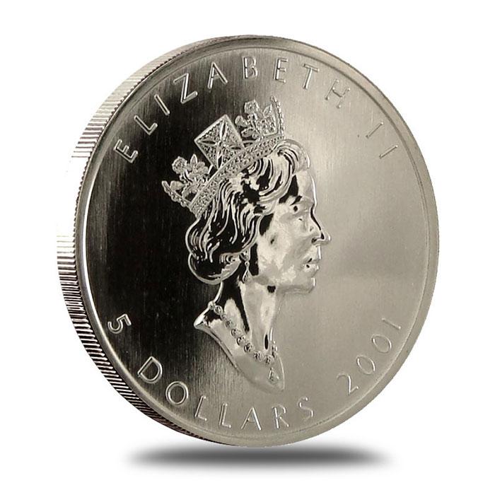 2001 1 oz Canadian Silver Maple Leaf Bullion Coin Obverse