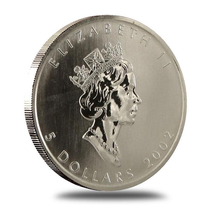 2002 1 oz Canadian Silver Maple Leaf Bullion Coin Obverse