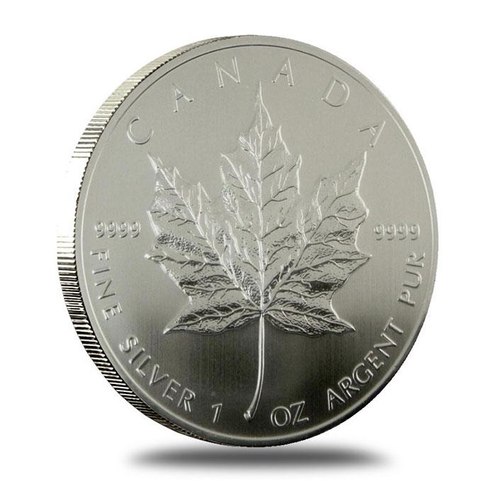 2002 1 oz Canadian Silver Maple Leaf Bullion Coin Reverse