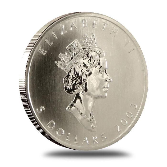 2003 1 oz Canadian Silver Maple Leaf Bullion Coin Obverse