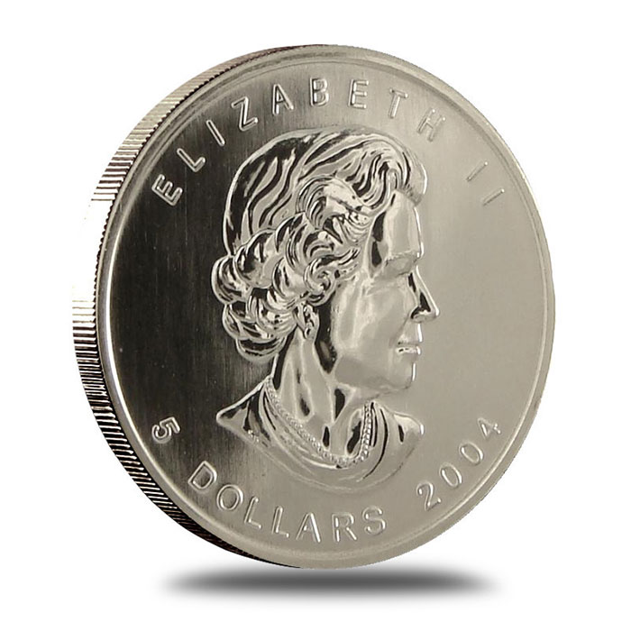 2004 1 oz Canadian Silver Maple Leaf Bullion Coin Obverse