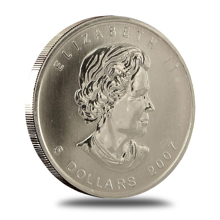 2007 1 oz Canadian Silver Maple Leaf Bullion Coin Obverse