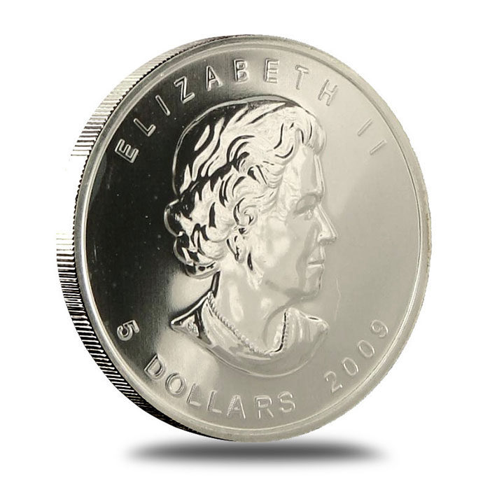 2009 1 oz Canadian Silver Maple Leaf Coin Obverse