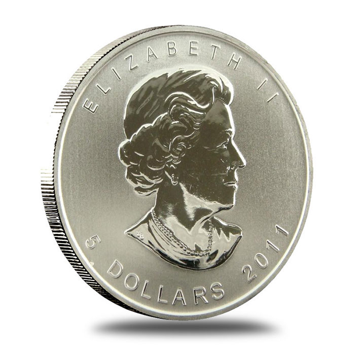 2011 1 oz Canadian Silver Maple Leaf Coin Obverse