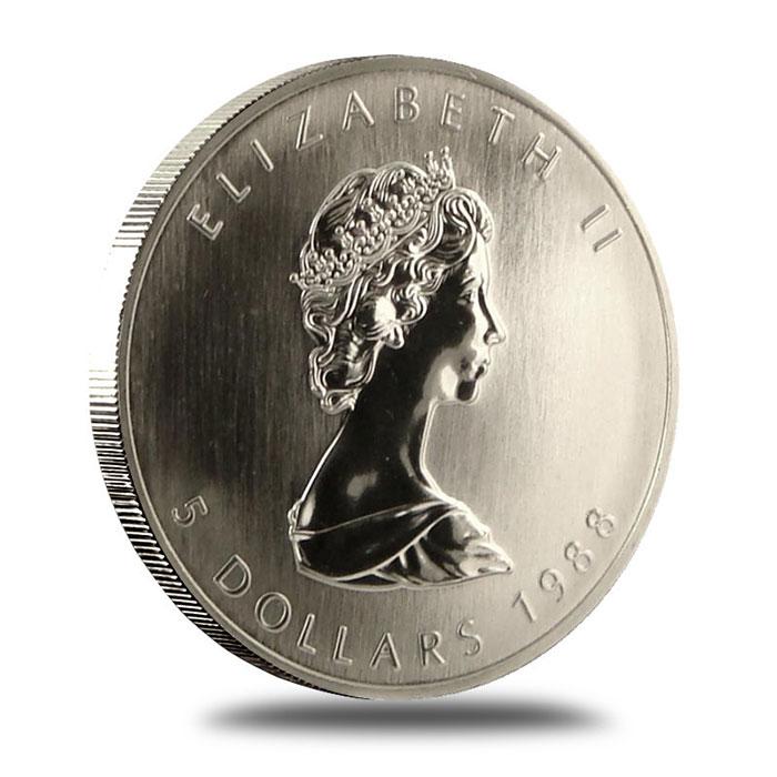 1988 1 oz Canadian Silver Maple Leaf Bullion Coin Obverse