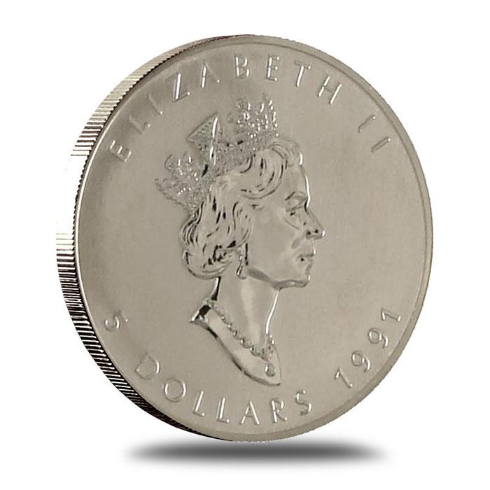 1991 1 oz Canadian Silver Maple Leaf Bullion Coin Obverse