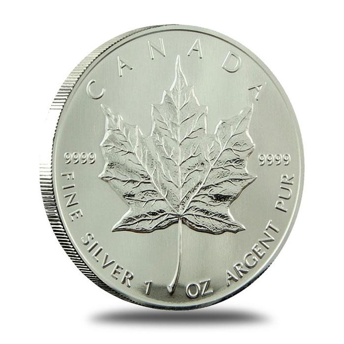 1991 1 oz Canadian Silver Maple Leaf Bullion Coin Reverse