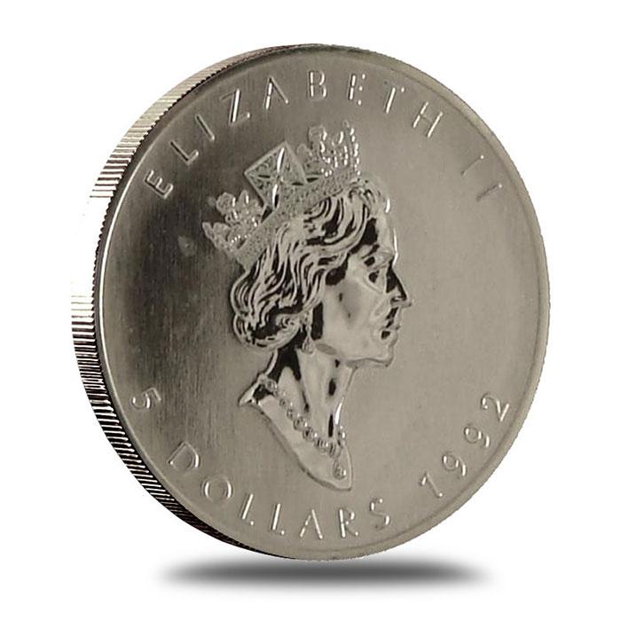 1992 1 oz Canadian Silver Maple Leaf Bullion Coin Obverse