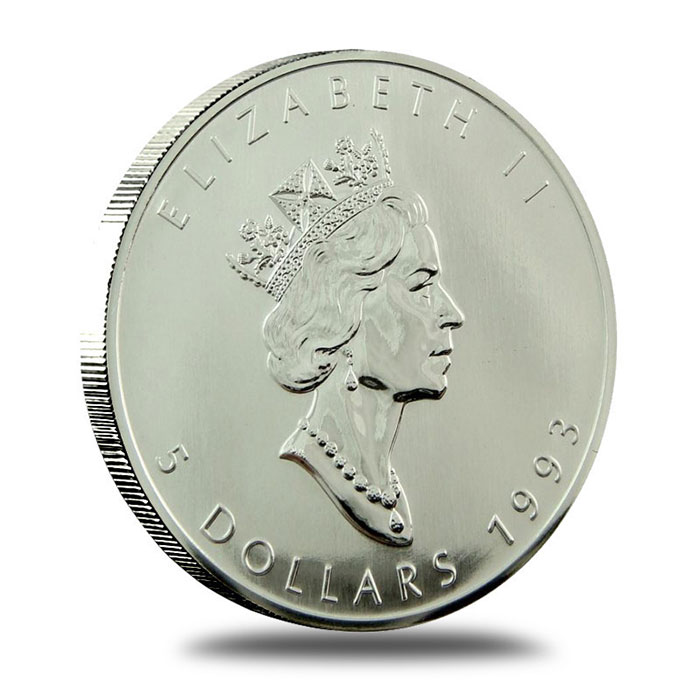 1993 1 oz Canadian Silver Maple Leaf Coin Obverse
