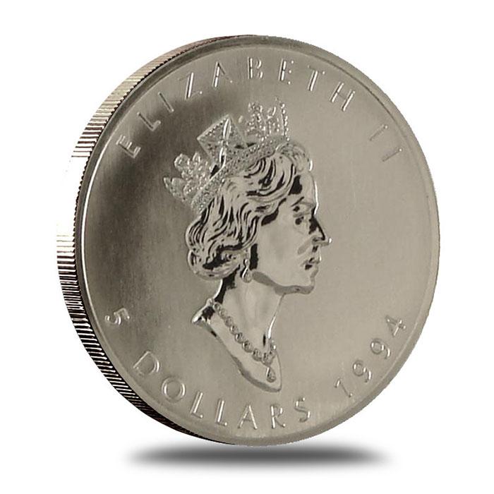 1994 1 oz Canadian Silver Maple Leaf Bullion Coin Obverse