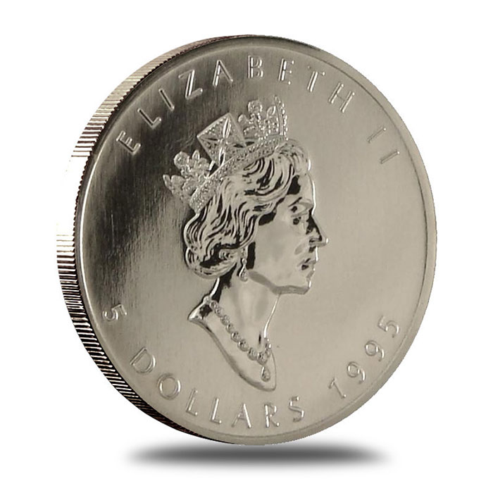 1995 1 oz Canadian Silver Maple Leaf Bullion Coin Obverse