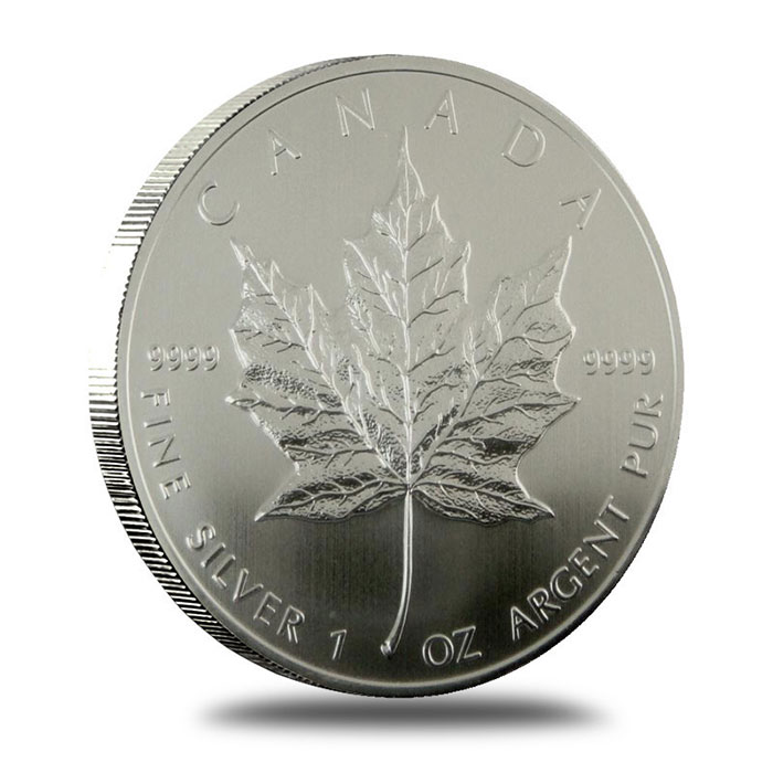 1995 1 oz Canadian Silver Maple Leaf Bullion Coin Reverse