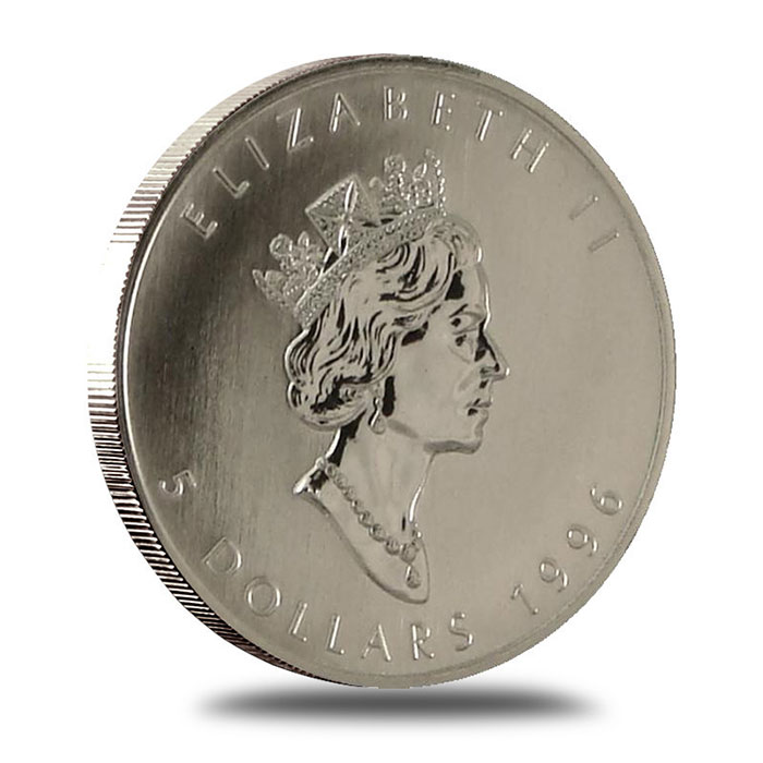 1996 1 oz Canadian Silver Maple Leaf Bullion Coin Obverse