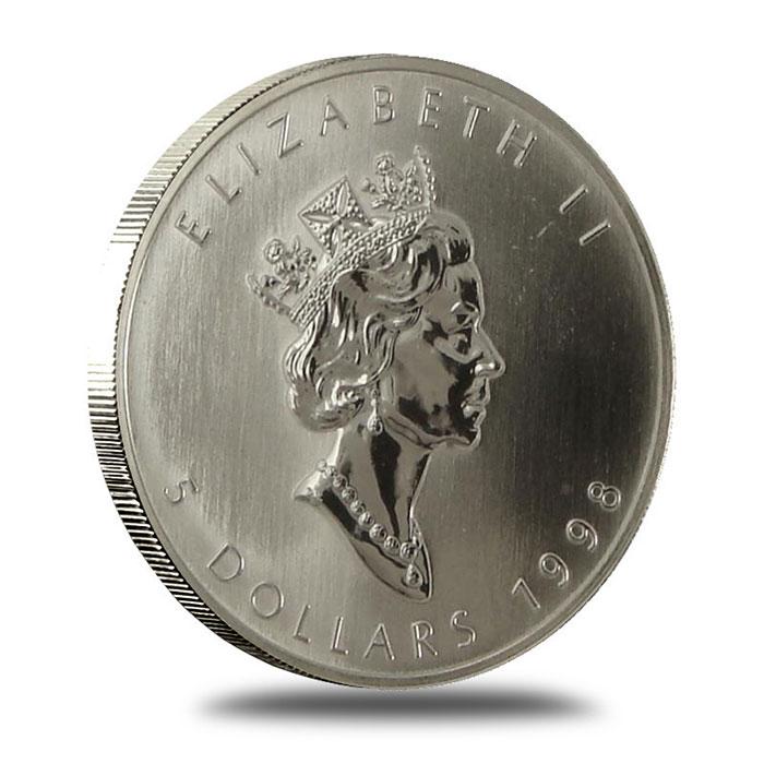 1998 1 oz Canadian Silver Maple Leaf Bullion Coin Obverse