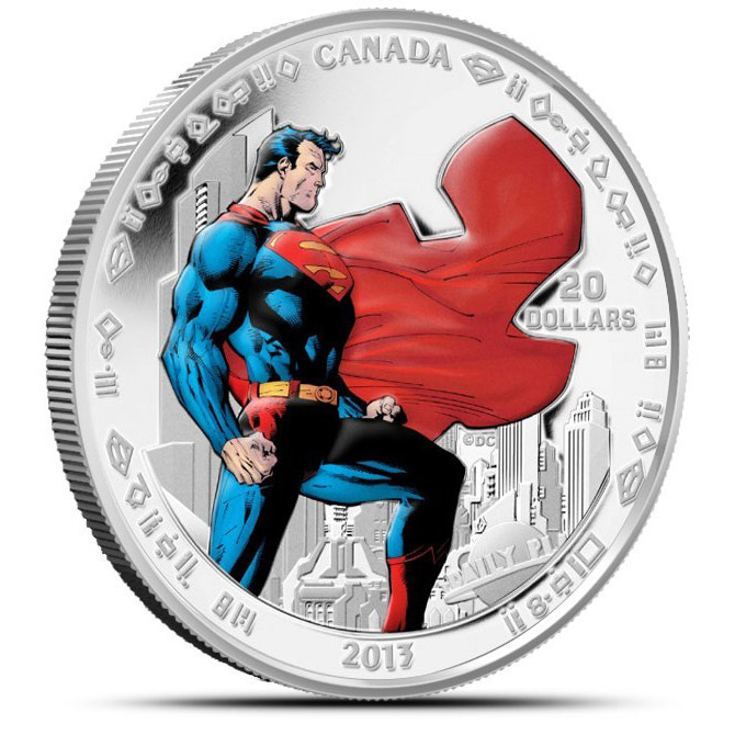 2013 Superman Man of Steel 1 oz Silver $20 Canadian Coin