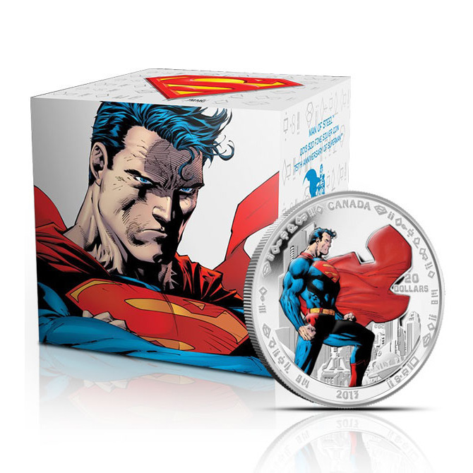 2013 Superman Man of Steel 1 oz Silver $20 Canadian Coin & Graphic Box