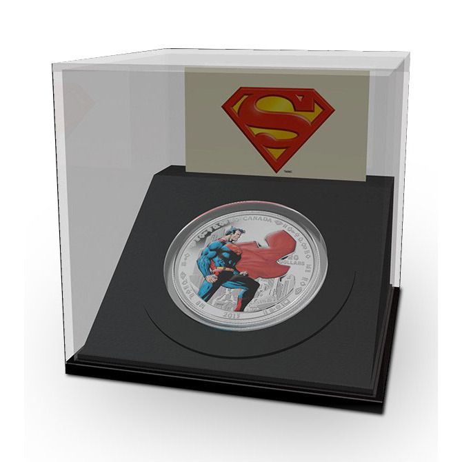 2013 Superman Man of Steel 1 oz SIlver Coin in Display Case