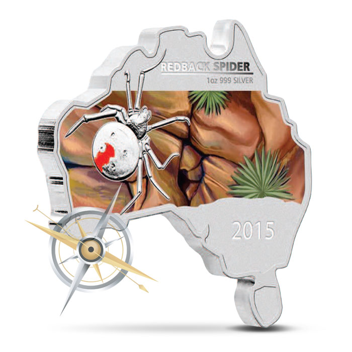 2015 Redback Spider 1 oz Silver Coin | Map-Shaped Coin