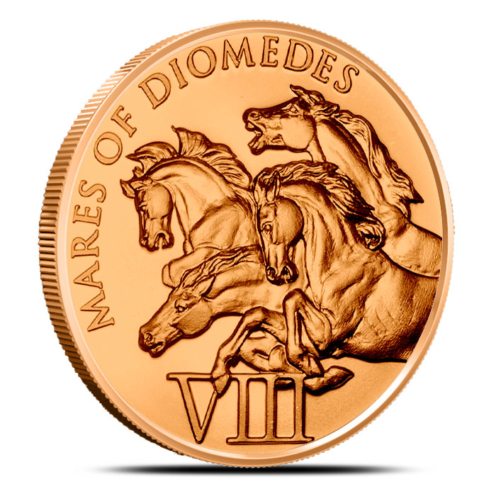 Mares of Diomedes 1 oz Copper Round | Labors of Hercules