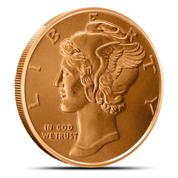 1 oz Copper Round   Mercury Dime
