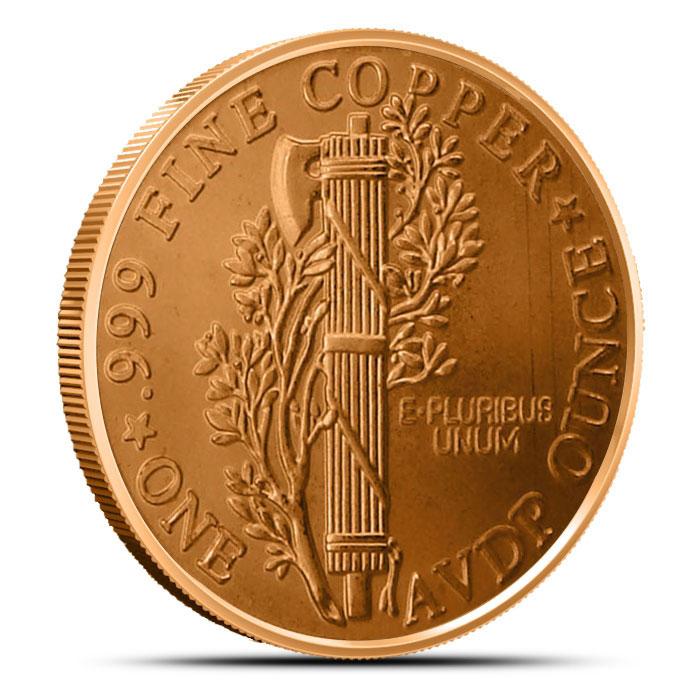 1 oz Copper Round   Mercury Dime Reverse