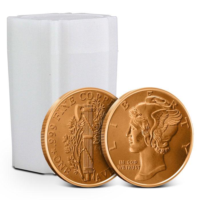 1 oz Copper Round   Mercury Dime - Tube of 20