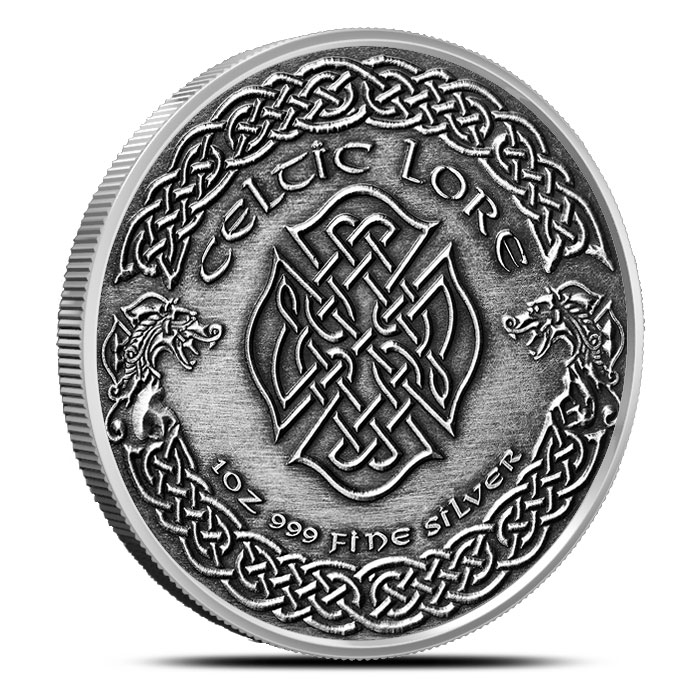 Merlin 1 oz Antique Celtic Knot Reverse