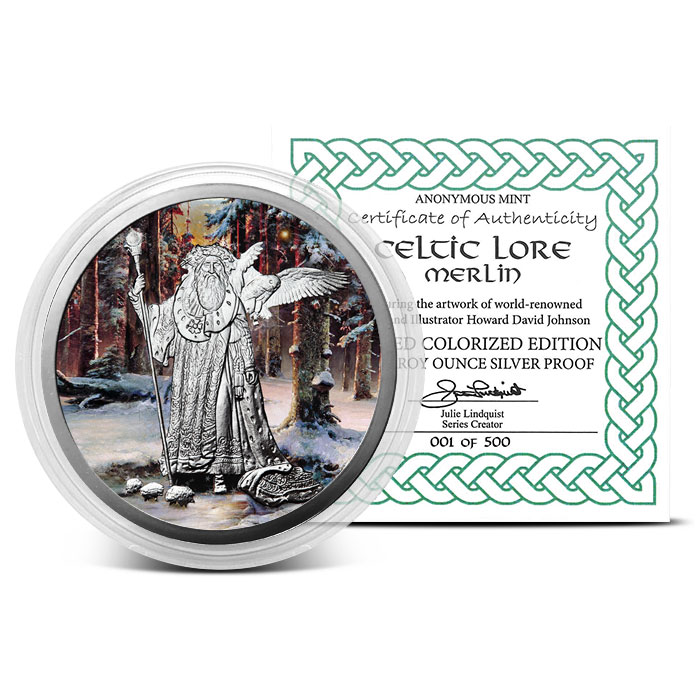 Merlin 5 oz Silver Colorized with Certificate