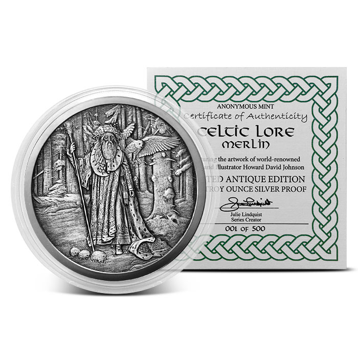 Merlin 5 oz Silver Antique Finish with Certificate